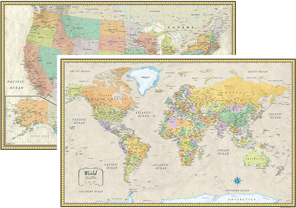 world map usa poster set