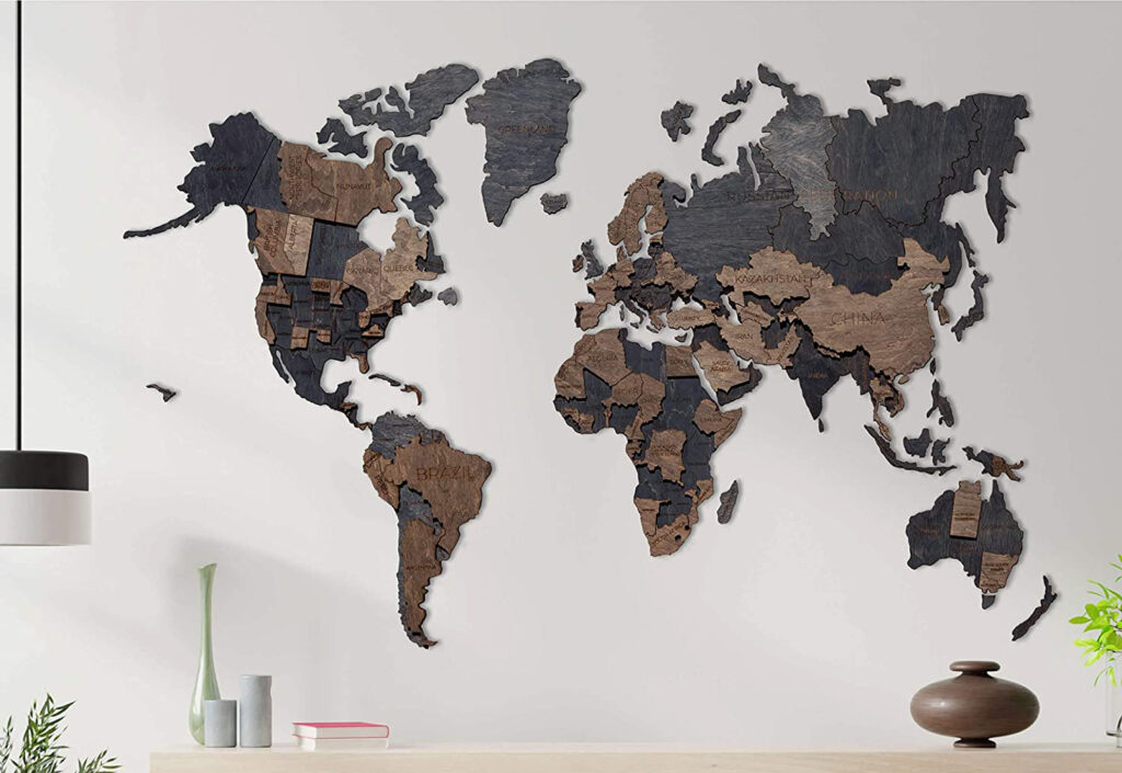 Best Wooden World Maps (Bestselling 3D Wood Wall Art in 2021) 5